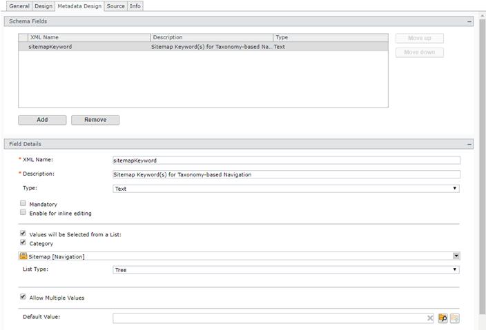 Region Schema Designer – Metadata Design Tab