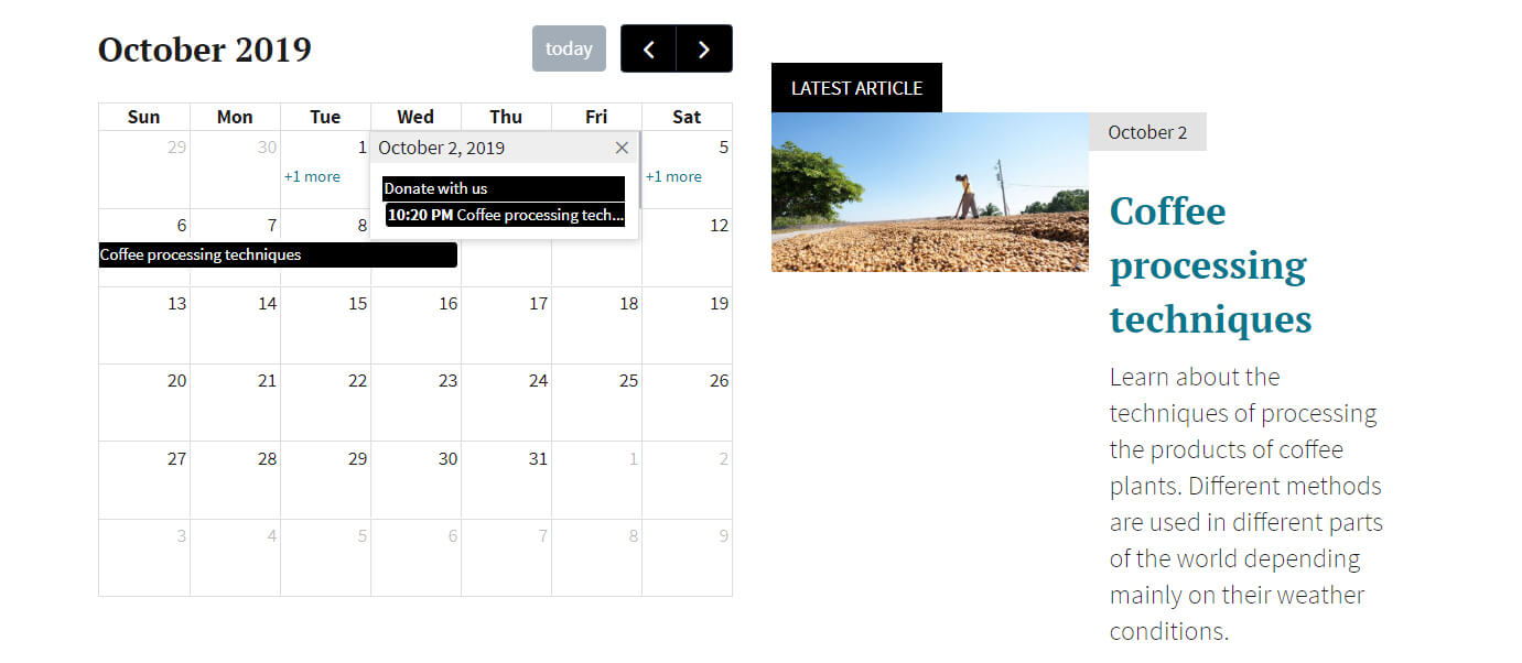 Calendar view with a popup for multiple events on same day
