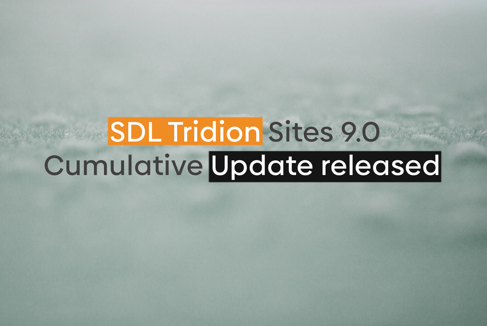 SDL Tridion Sites 9.0 Cumulative Update released